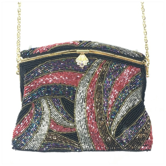 Handbags - Beaded Evening Bag with Gold Chain